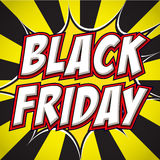 Comic book explosion with text Black Friday. Design for your banner flyer pop art Stock Photo
