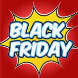Comic book explosion with text Black Friday. Design for your banner flyer pop art Stock Photos