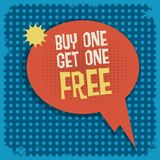 Comic book explosion with text Buy One, Get One Free. Vector illustration royalty free illustration