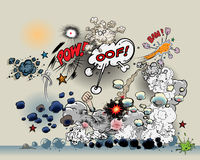 Comic book explosions. Additional vector format Illustrator 8 eps Royalty Free Stock Photo