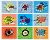Comic book explosions. Isolated on color backgrounds Stock Image