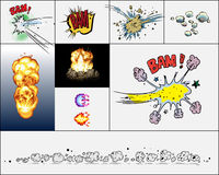 Comic book explosions. Isolated on light background Royalty Free Stock Photography