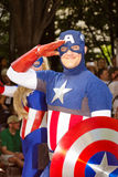 A comic book fan dressed as Captain America stock image