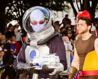 A comic book fan dressed as Mr. Freeze. ATLANTA - Sept. 1: A comic book fan dressed as Mr. Freeze marches in the annual DragonCon parade on Sept. 1, 2012 stock photo