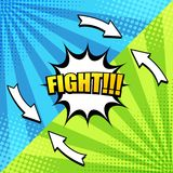 Comic book fight background. With two sides, arrows, white speech bubble, inscription, radial and halftone effects in blue and green colors. Vector illustration Royalty Free Illustration