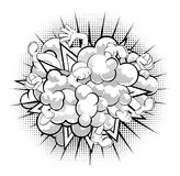Comic Book Fight Cloud. A black and white half-tone shaded comic book or cartoon dust cloud fight Stock Photos