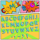 Comic book font. Colorful Comic book font in a pop art retro style, vector Stock Photos
