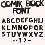 Comic book font. Monochrome Comic book font in a pop art retro style, vector Royalty Free Stock Photography