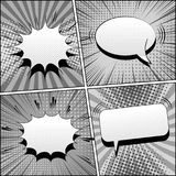 Comic book gray template. With blank white speech bubbles sound rays halftone and radial effects in pop-art style. Vector illustration Royalty Free Stock Image