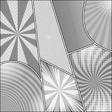 Comic book gray template. With radial circles rays dotted and halftone humor effects in monochrome style. Vector illustration Royalty Free Stock Photo