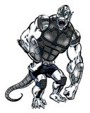 Comic book illustrated alien gorilla character with a tail Royalty Free Stock Image