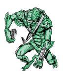 Comic book illustrated alien invader. Comic illustrated ugly alien invader Stock Images
