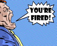 Comic book illustrated angry boss yelling you're fired with blue background Stock Photos