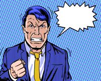 Comic book illustrated angry manager with clenched fist and blue background