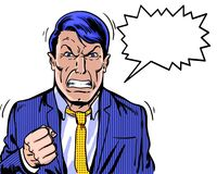 Comic book illustrated angry manager with clenched fist and white background