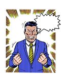Comic book illustrated angry manager with dialogue balloon Royalty Free Stock Photo