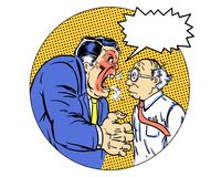 Comic book illustrated angry manager with orange background Stock Photos