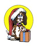 Comic book illustrated beagle christmas character Royalty Free Stock Photography