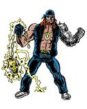 Comic book illustrated biker character with golden skull weapon Royalty Free Stock Image