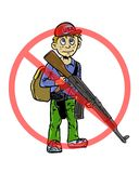 Comic book illustrated boy holding firearms Royalty Free Stock Photo