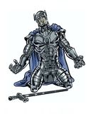 A comic book illustrated character with armor suit kneeling. Comic Illustrated armored hero kneeling Stock Photos