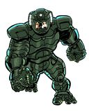 Comic book illustrated character in a battle armored suit Stock Photo