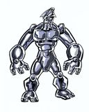 Comic book illustrated cosmic character with a sword in action pose. Cosmic powered comic book super hero Royalty Free Stock Photography