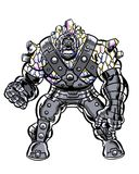 Comic book illustrated crystal skinned brute character