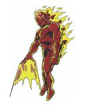 Comic book illustrated fiery muscular male character Stock Photography
