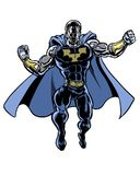 Comic book illustrated incredible man super character. Powerful alien incredible man character Royalty Free Stock Images