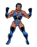 Comic book illustrated muscular woman flexing muscles Royalty Free Stock Image