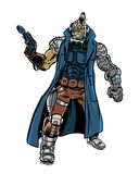 Comic book illustrated old assassin cyborg character Stock Image