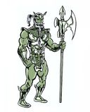 Comic book illustrated original fish king character with trident. Original fish king character with trident Royalty Free Stock Image