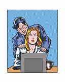 Comic book illustrated pop art style workplace sexual  Royalty Free Stock Photo