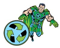 Comic book illustrated recycle green superhero flying with recycle symbol Stock Photo