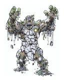 Comic book illustrated rockcreature character lurching forward. Original rock creature monster lurching forward stock illustration