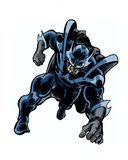 Comic book illustrated shadow knight hero in action pose. Running Royalty Free Stock Images