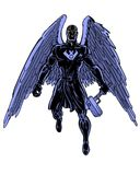 Comic book illustrated shadow raven character Stock Image