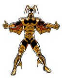 Comic book illustrated stinger character in armor suit Stock Photos