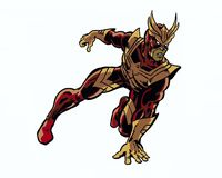 Comic book illustrated vengeful hawk hero character in action pose Stock Photo