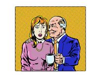 Comic book illustrated workplace sexual harassment characters. Illustrated workplace sexual harassment characters Royalty Free Stock Image