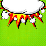 Comic book illustration with explosion on top. royalty free illustration