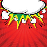 Comic book illustration with explosion on top. stock illustration