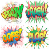 Comic Book Illustrations. A Selection of Comic Book Exclamations and Action Words, Vroom, Crash, Oops, Plop Royalty Free Stock Photography