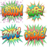 Comic Book Illustrations. A Selection of Comic Book Exclamations and Action Words, Kaboom, Boff, Zonk, Crackle Stock Photo