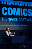Comic book illustrator Victor Drujiniu. On the main stage at East European Comic Con. Bucharest, Romania, march 2013 Royalty Free Stock Photo