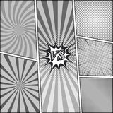 Comic book monochrome backgrounds set. With duel radial rays and halftone humor effects in gray colors. Vector illustration Royalty Free Stock Photography