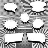 Comic book monochrome template. With blank speech bubbles, dotted, halftone and radial humor effects in gray colors. Pop-art style. Vector illustration Stock Photography