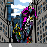 Comic book motor race in the city Stock Images