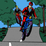 Comic book motor race Stock Images